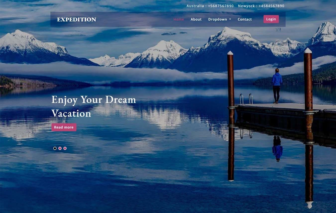 Expedition a Travel Category Bootstrap Responsive Web Template Mobile website template Free
