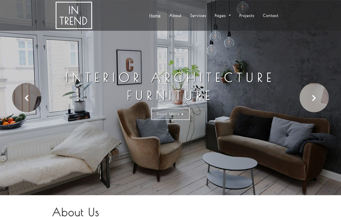 Intrend Interior Category Bootstrap Responsive Web Template. Mobile website template Free