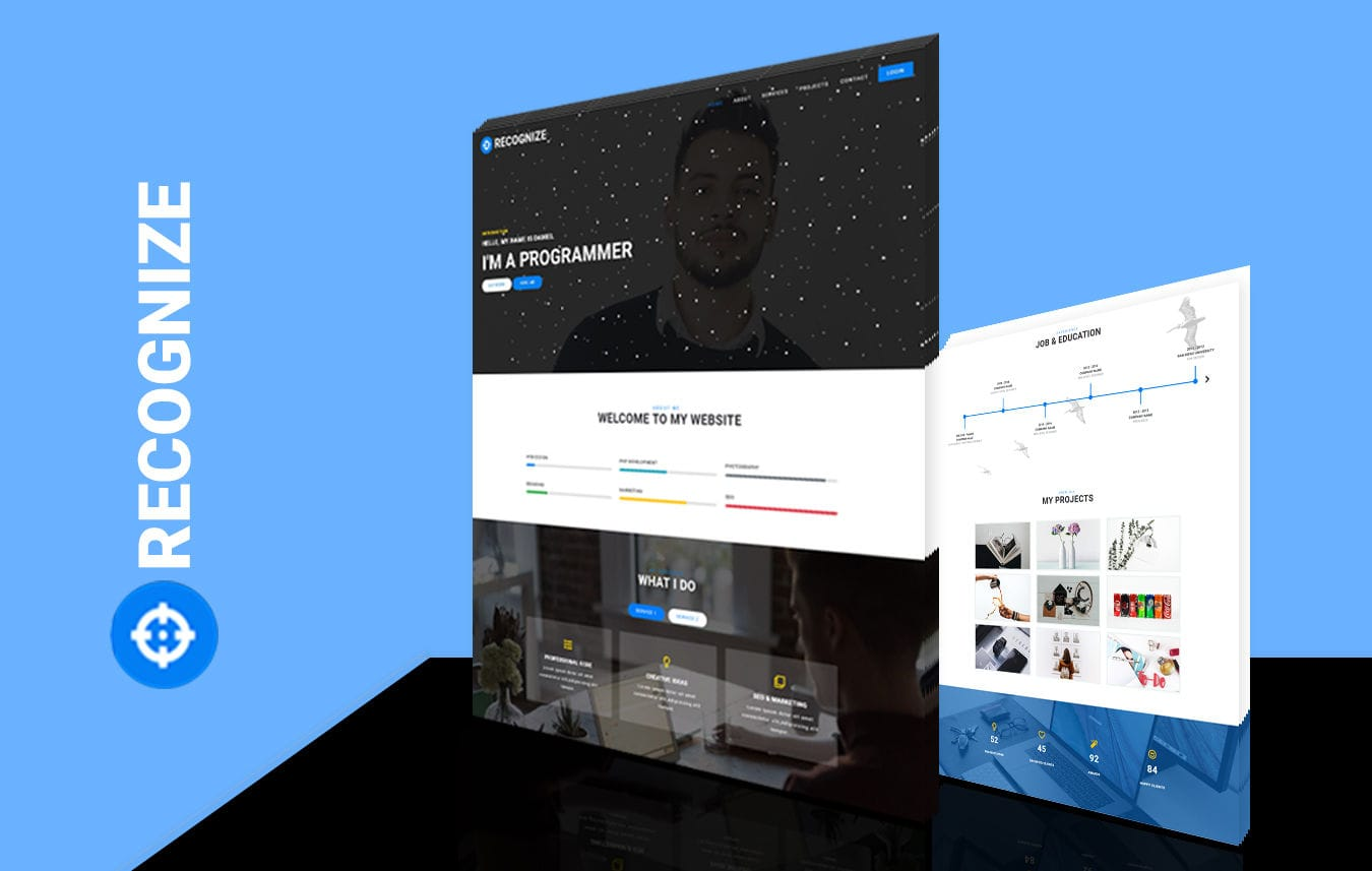 Recognize Personal Category Bootstrap Responsive Web Template. Mobile website template Free