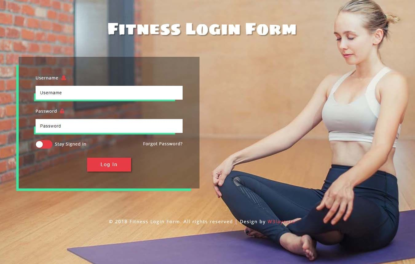 Fitness Login Form Responsive Widget Template Mobile website template Free