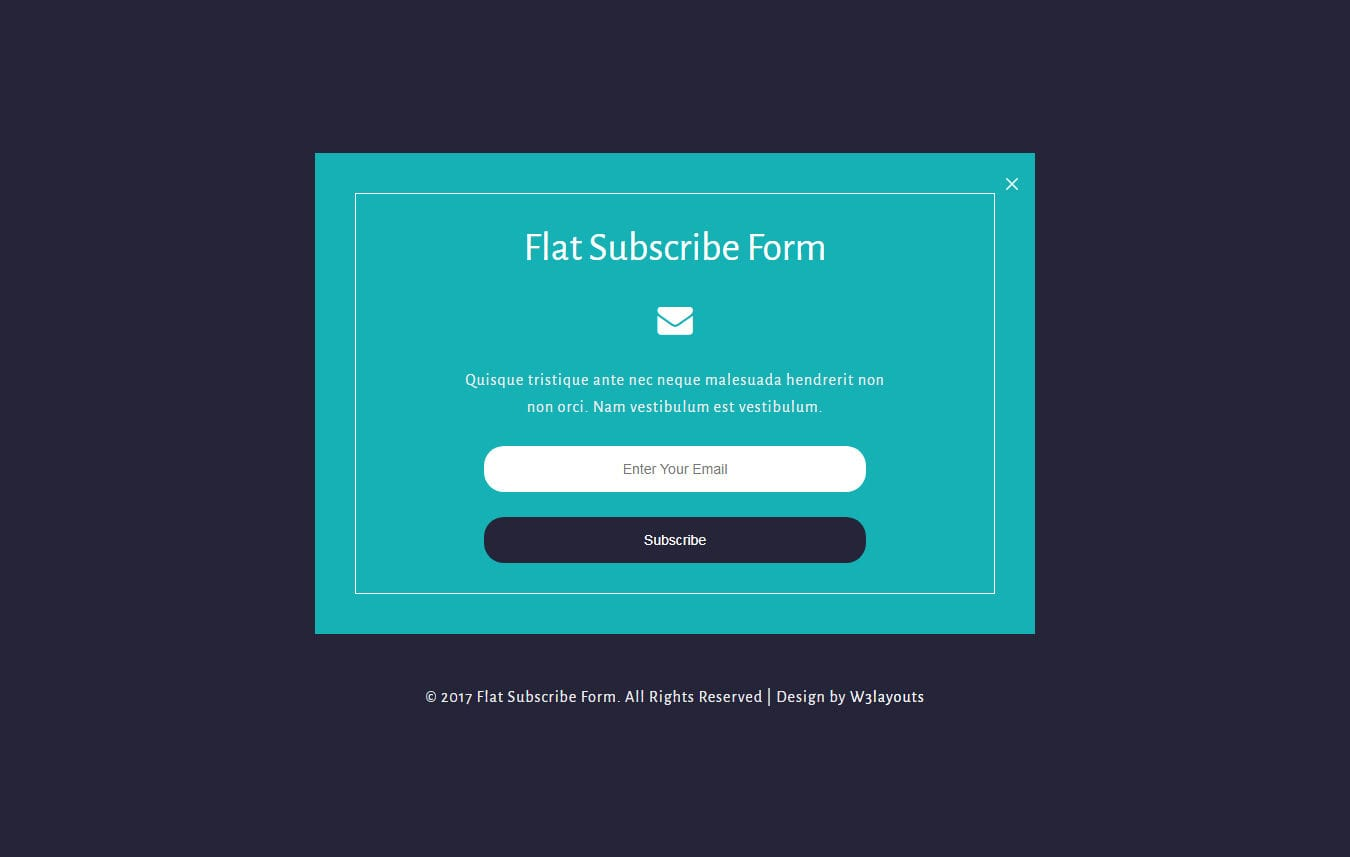 Flat Subscribe Form a Responsive Widget Template