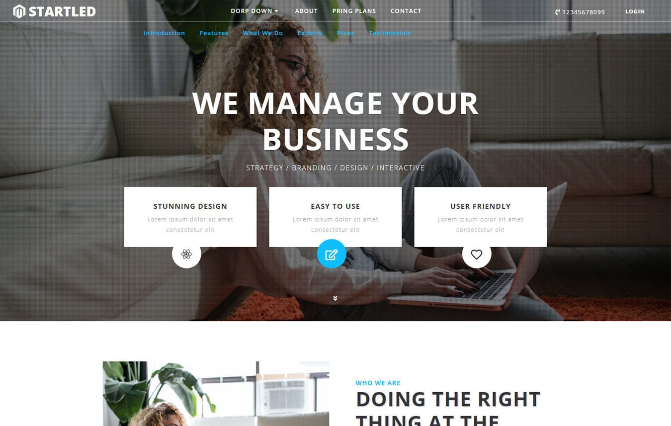 Startled Corporate Category Bootstrap Responsive Web Template. Mobile website template Free