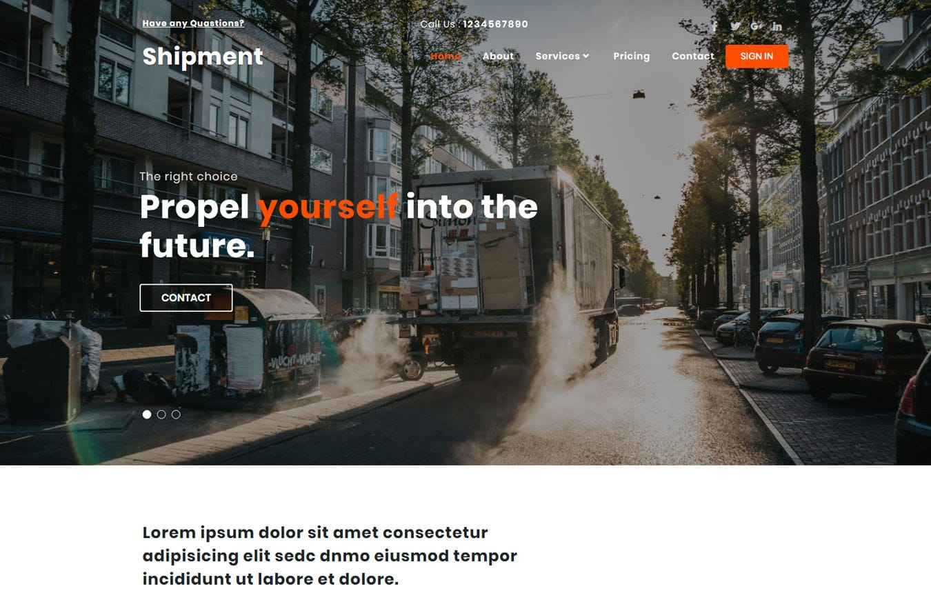 Shipment Transport Category Bootstrap Responsive Web Template. Mobile website template Free