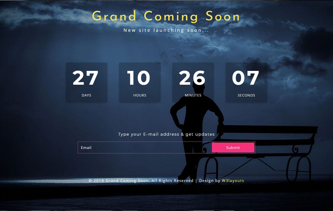 Grand Coming Soon Responsive Widget Template Mobile website template Free