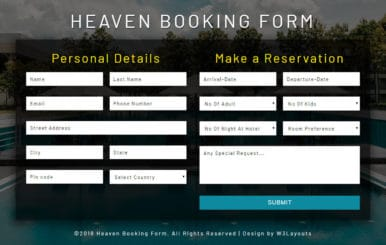 Heaven Booking Form Flat Responsive Widget Template