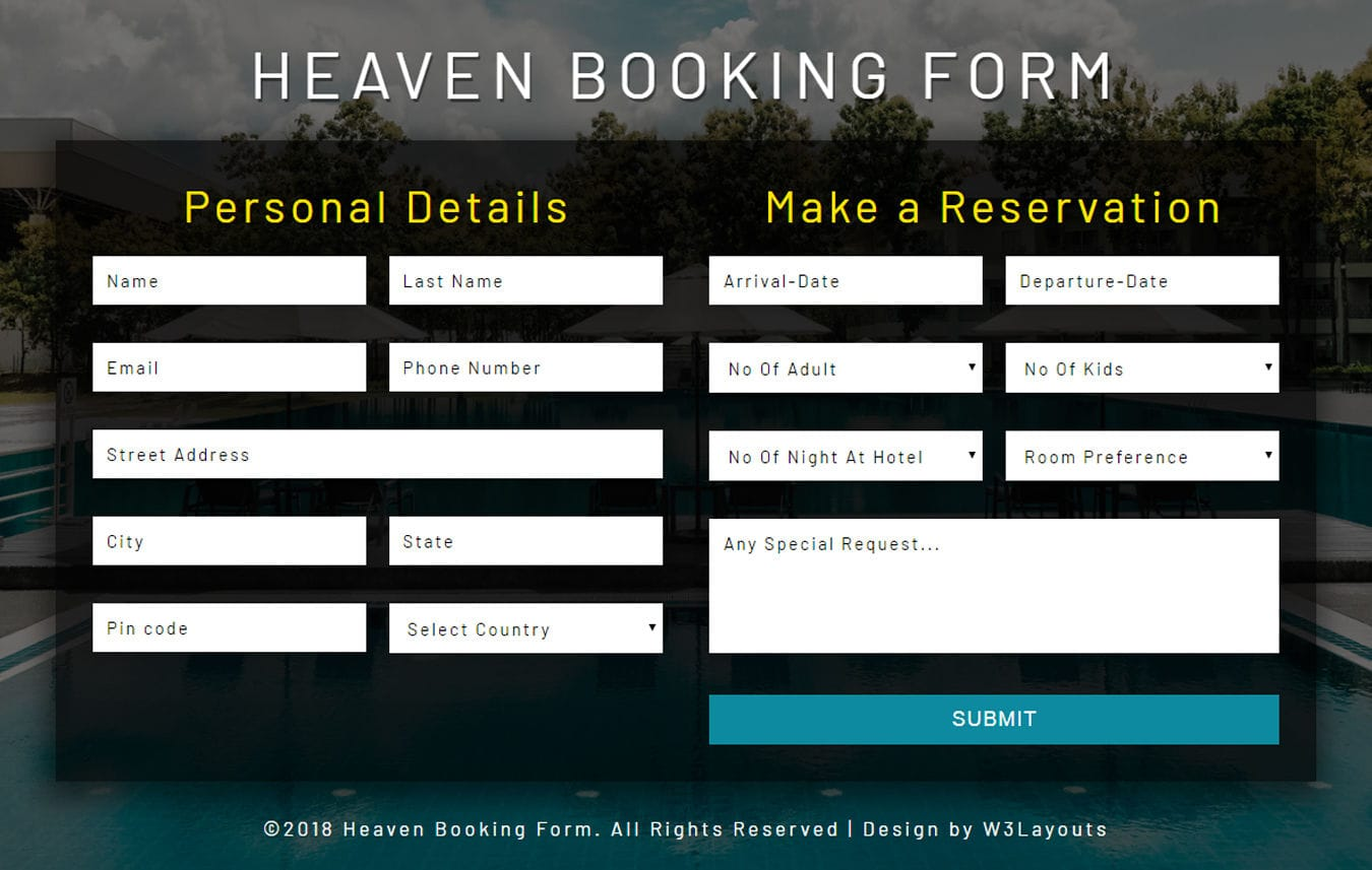 Heaven Booking Form Flat Responsive Widget Template Mobile website template Free