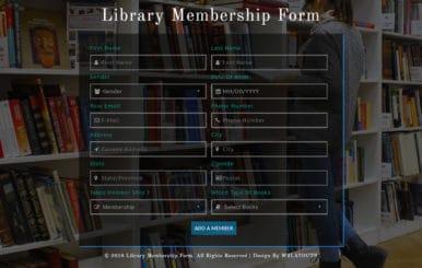 Library Membership Form Responsive Widget Template