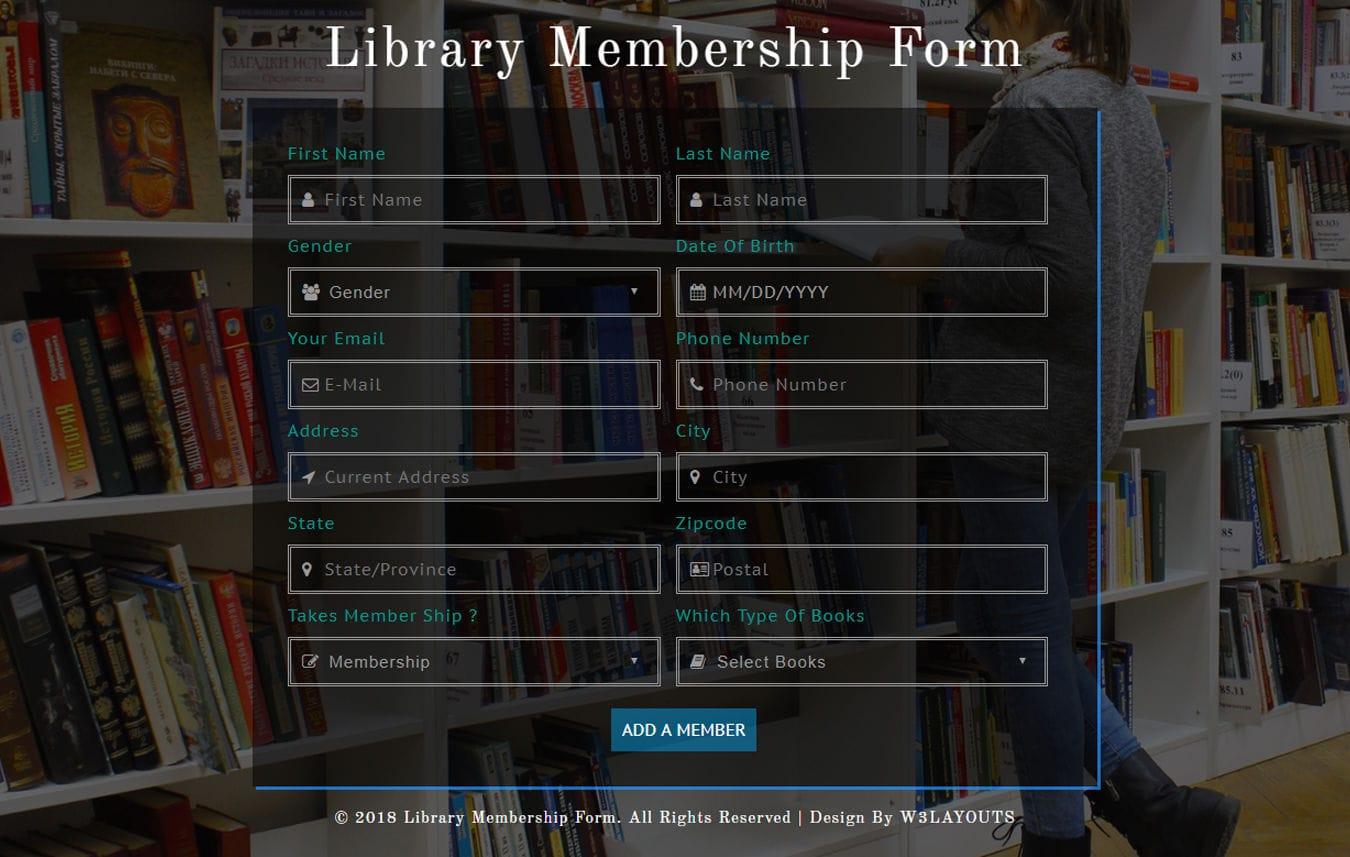Library Membership Form Responsive Widget Template