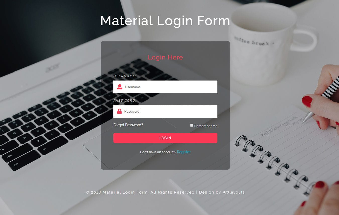 Material login form Responsive Widget Template Mobile website template Free