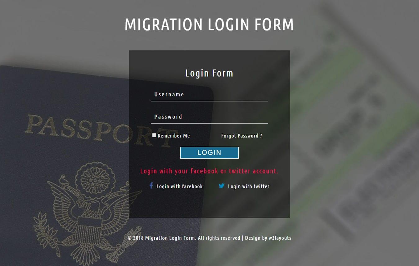 Migration Login Form Responsive Widget Template Mobile website template Free