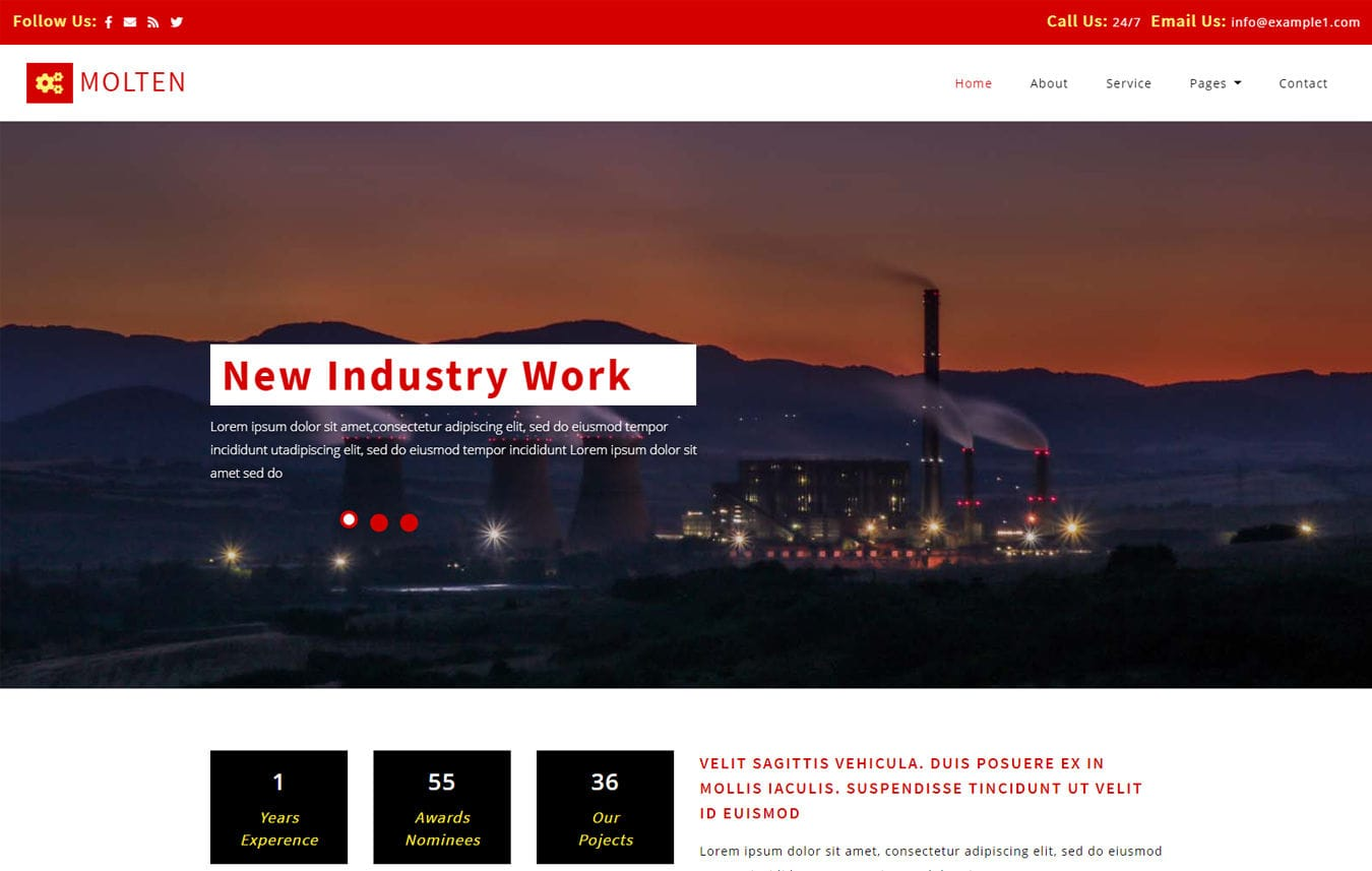 Molten Industrial Category Bootstrap Responsive Web Template Mobile website template Free