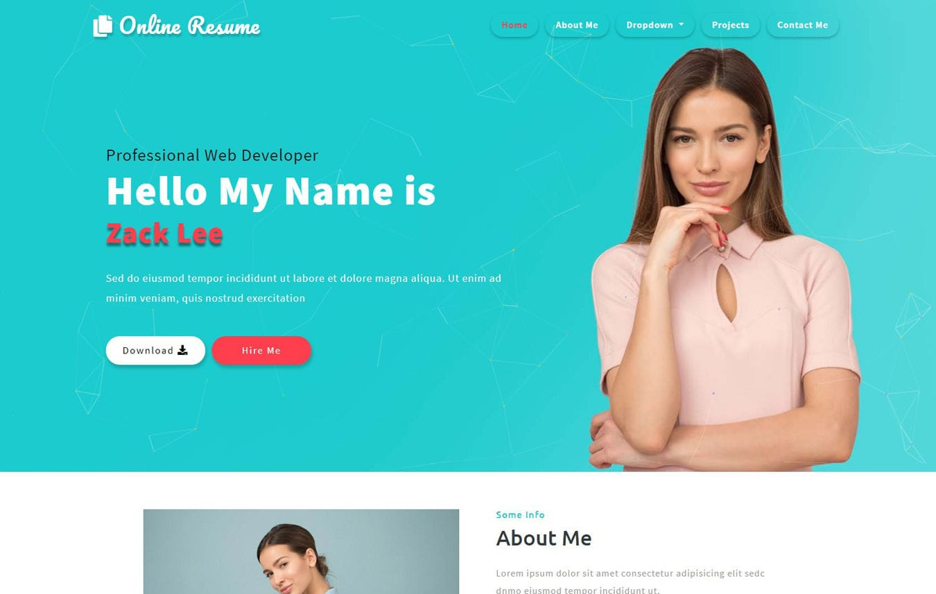 Online Resume a Personal Category Bootstrap Responsive website Template Mobile website template Free