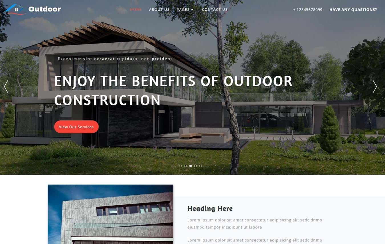 Outdoor Exterior Category Bootstrap Responsive Web Template Mobile website template Free