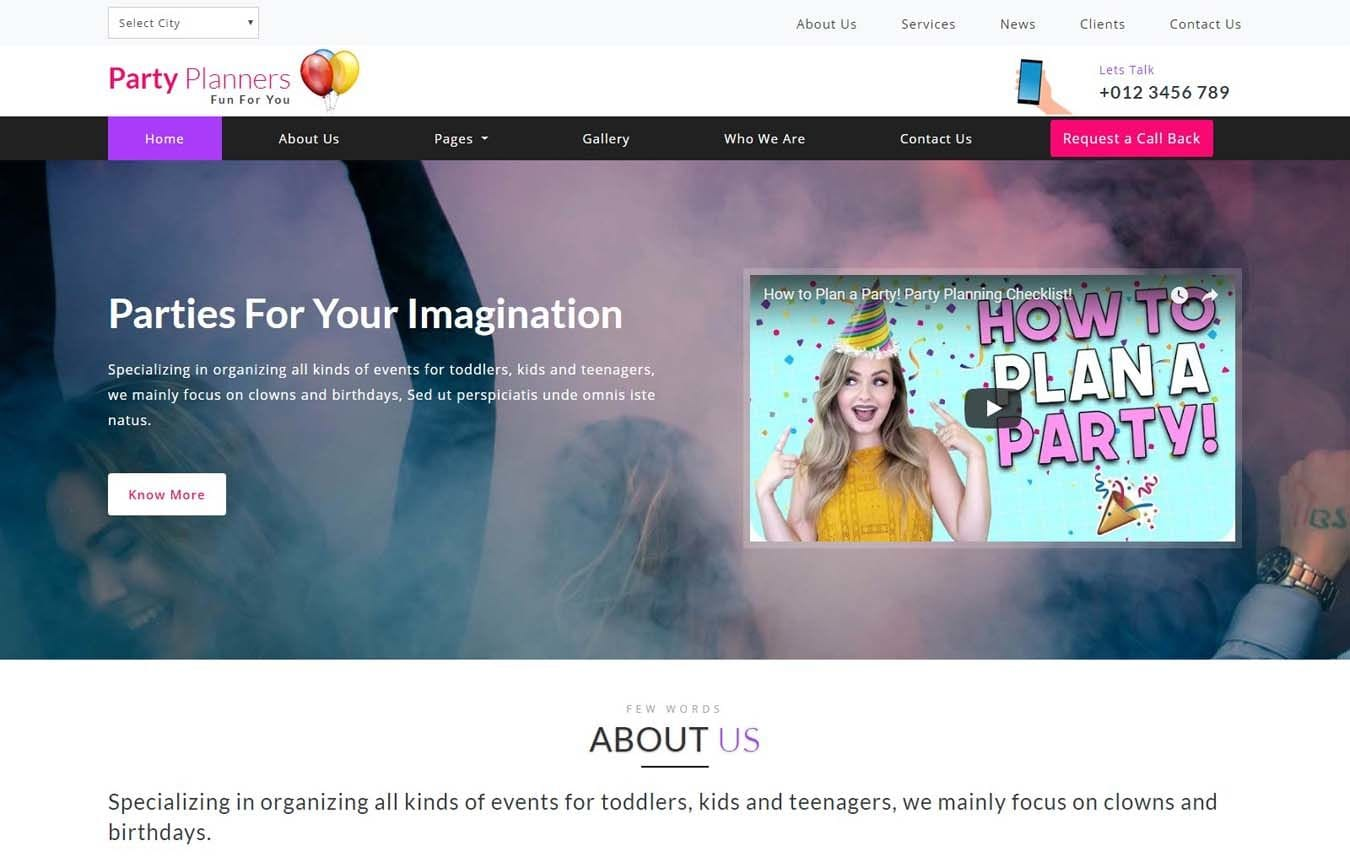 Party Planners Entertainment Category Bootstrap Responsive Web Template. Mobile website template Free