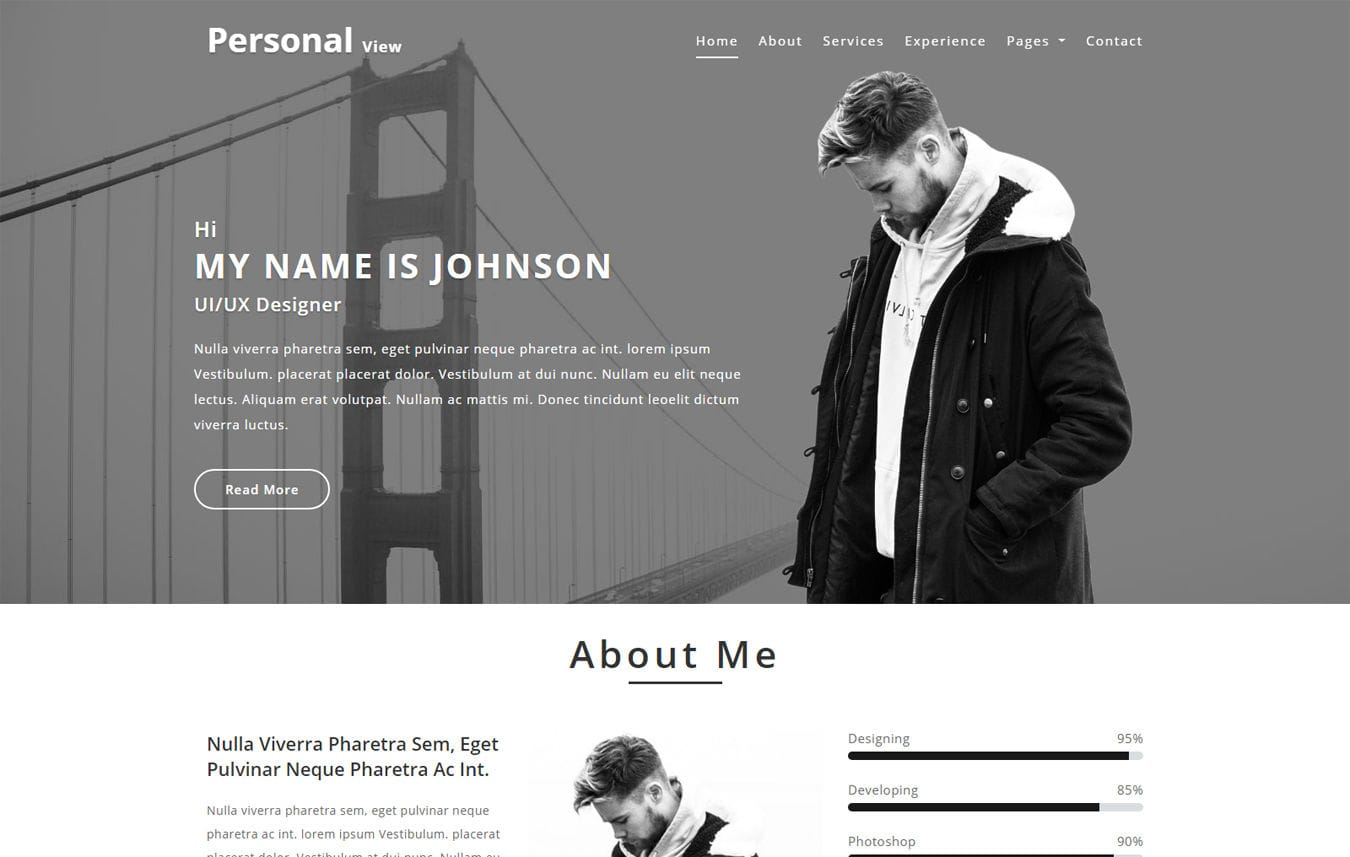 Personal View Personal Category Bootstrap Responsive Web Template. Mobile website template Free