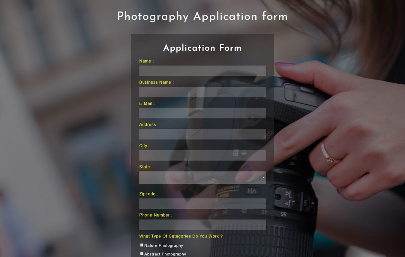 Photography Application Form Flat Responsive Widget Template Mobile website template Free