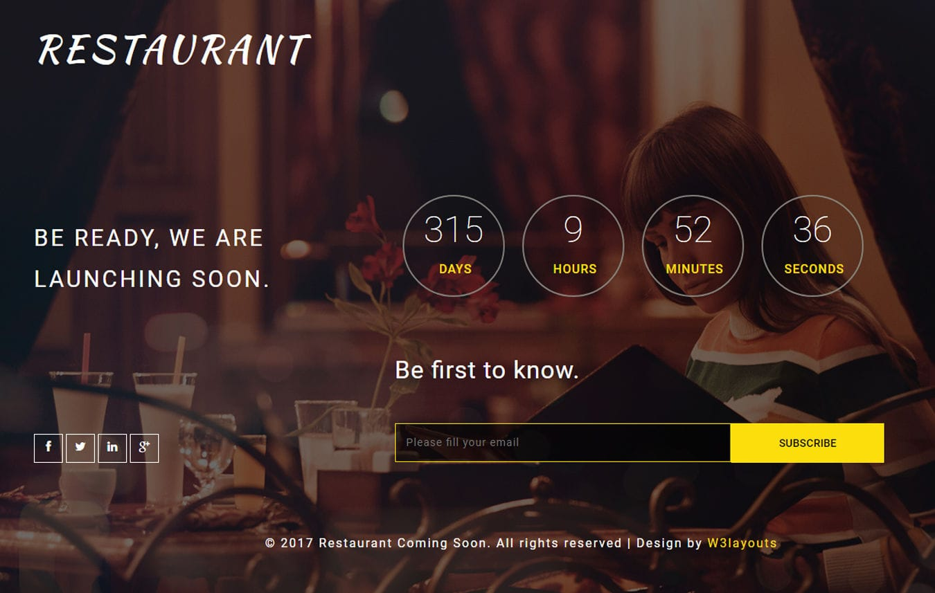 Restaurant Coming Soon a Flat Responsive Widget Template Mobile website template Free