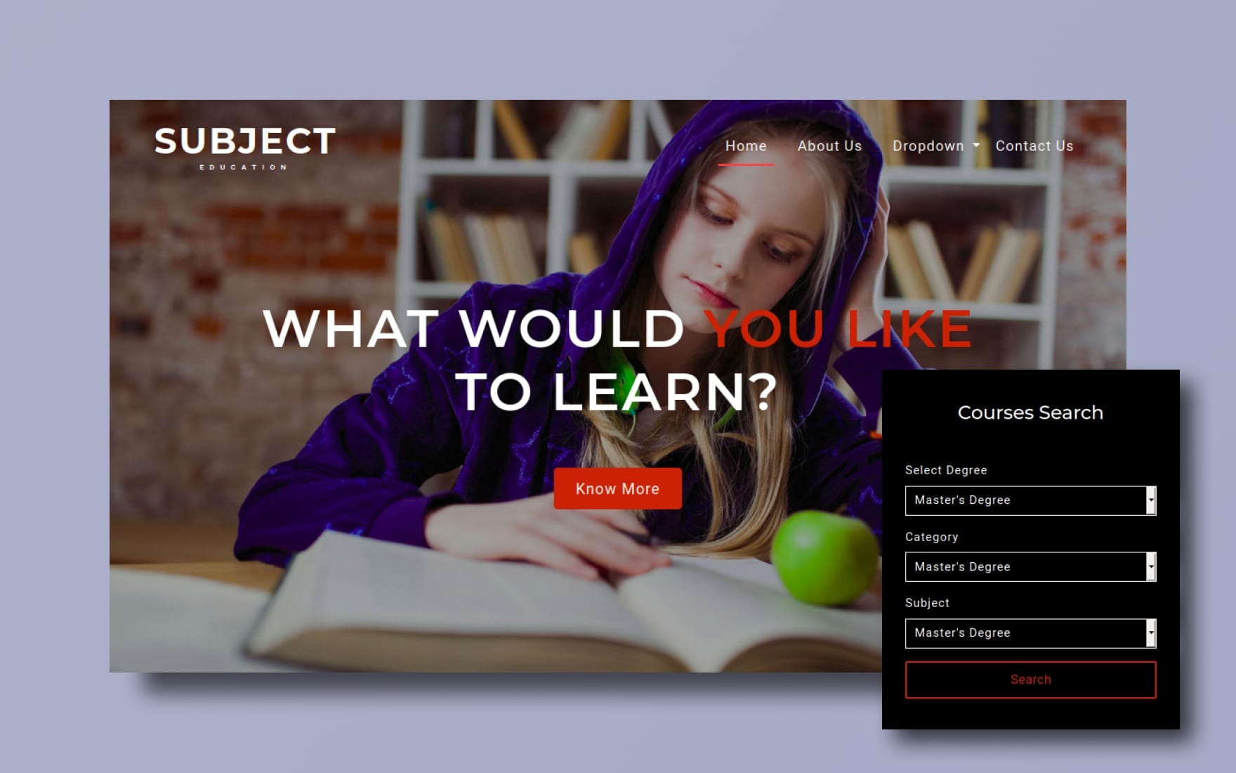 Subject an Education Category Bootstrap Responsive Web Template
