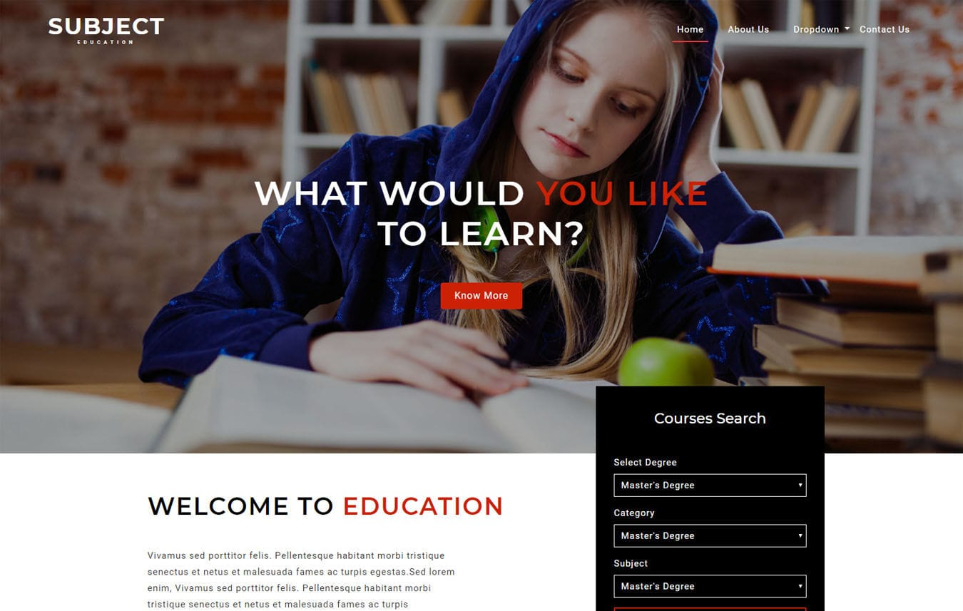 Subject an Education Category Bootstrap Responsive Web Template Mobile website template Free