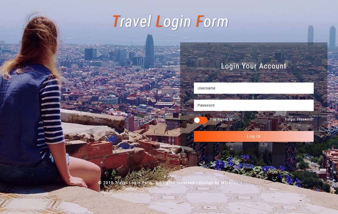 Travel Login Form Responsive Widget Template Mobile website template Free