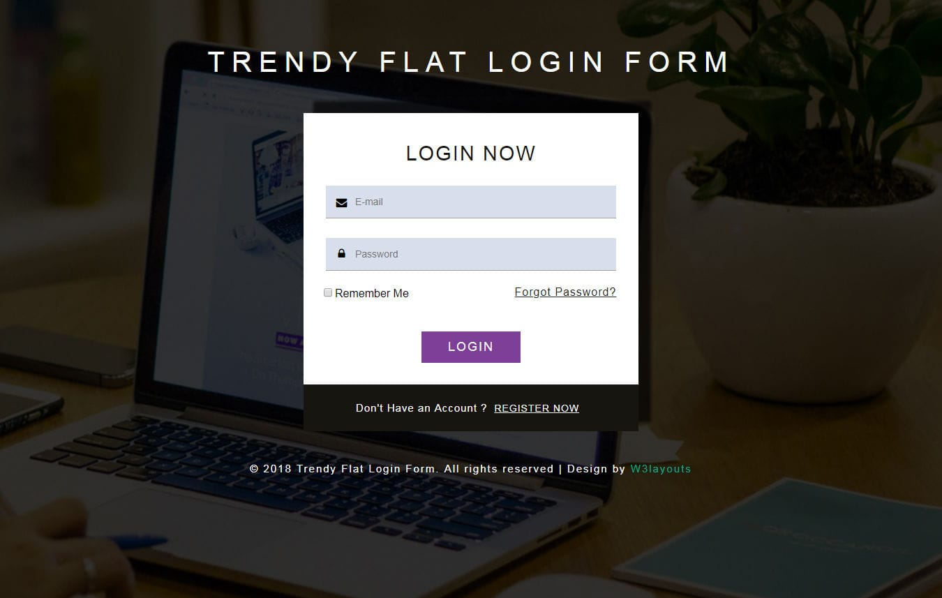 Trendy Flat Login Form Responsive Widget Template