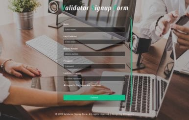 Validator Signup Form Responsive Widget Template.