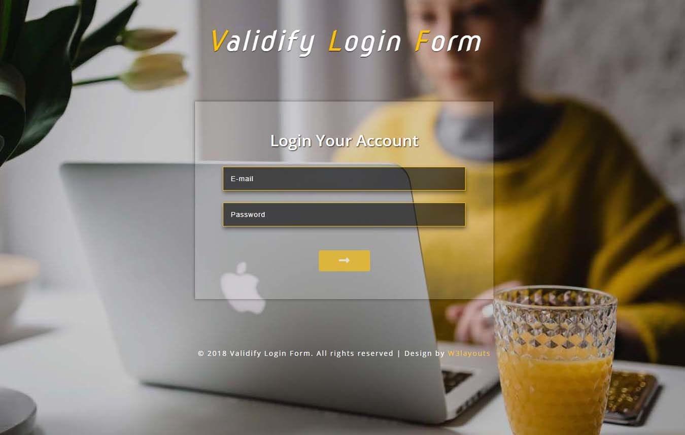 Validify Login Form Flat Responsive Widget Template