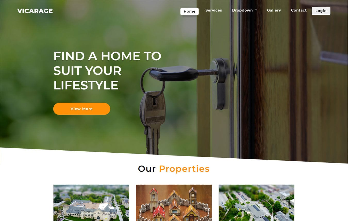 Vicarage a Real Estate Category Bootstrap Responsive Web Template. Mobile website template Free