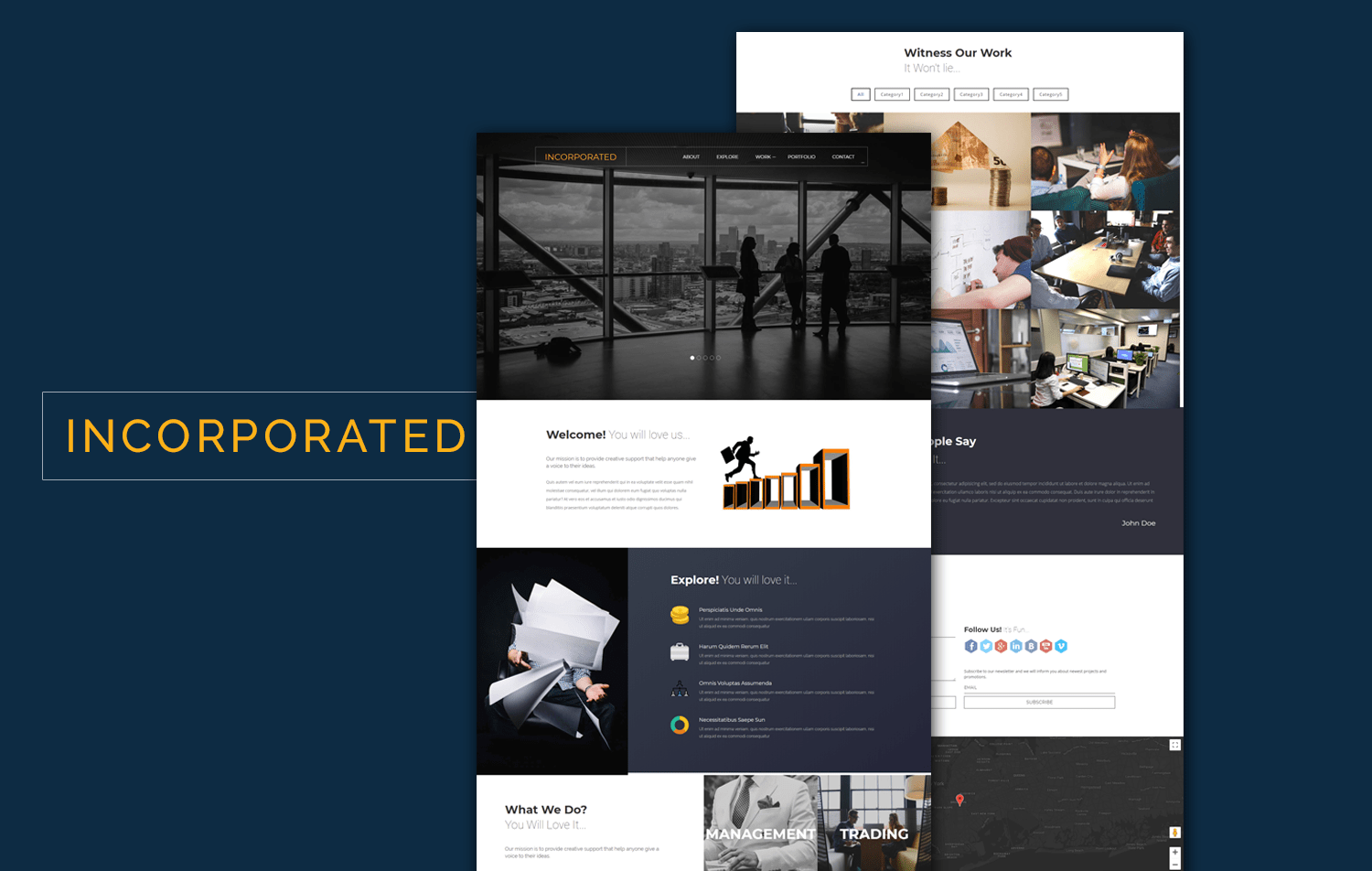 Incorporated a Corporate Category Flat Bootstrap Responsive Web Template Mobile website template Free