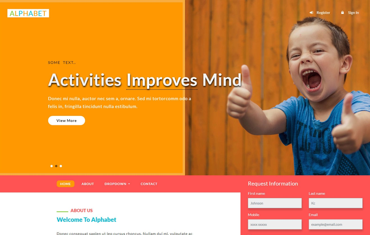 Alphabet an Education Category Bootstrap Responsive Web Template Mobile website template Free