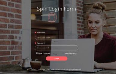 Spin login Form Flat Responsive Widget Template.
