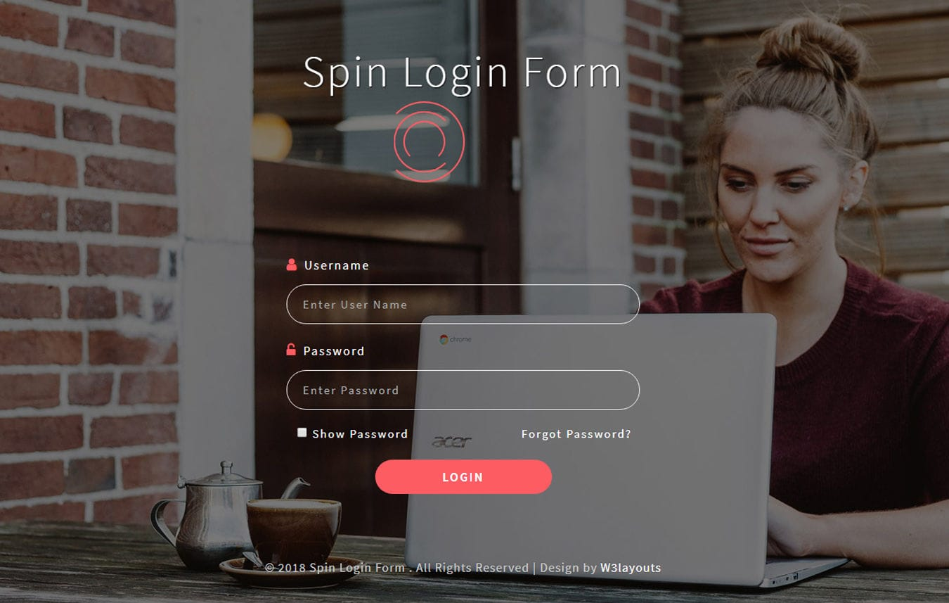 Spin login Form Flat Responsive Widget Template.