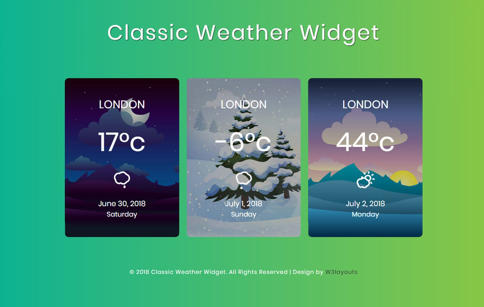Classic Weather Widget Flat Responsive Widget Template. Mobile website template Free