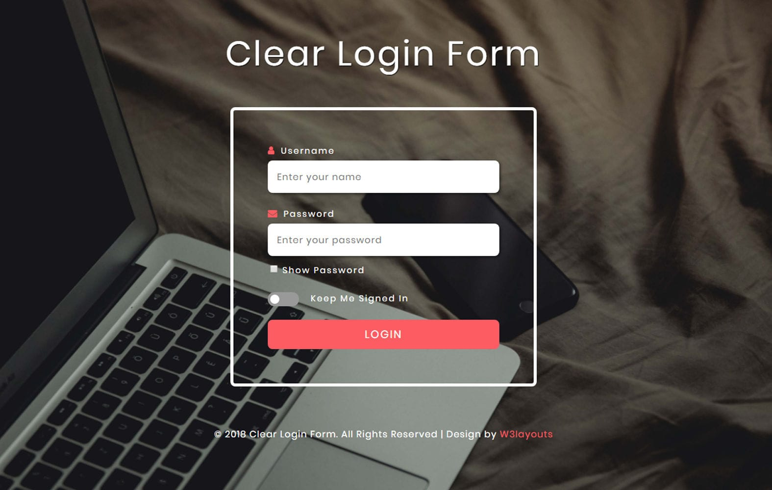 Clear Login Form Flat Responsive Widget Template. Mobile website template Free