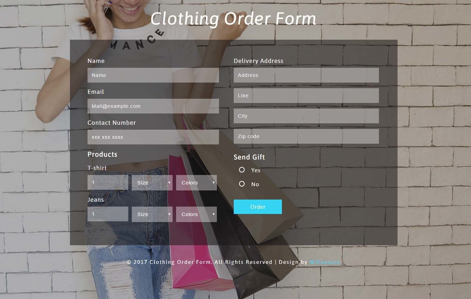 Clothing Order Form Responsive Widget Template Mobile website template Free