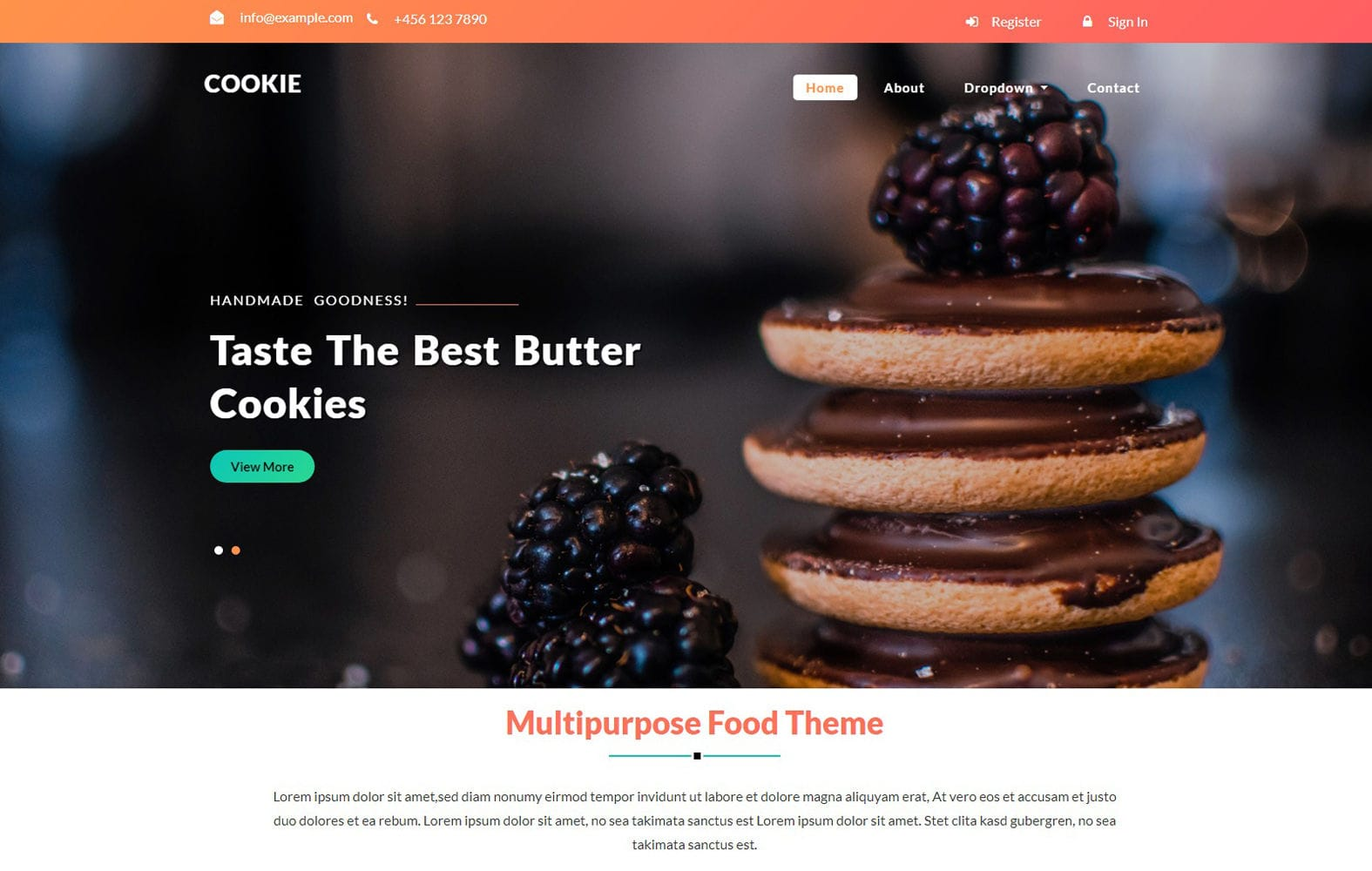 Cookie – Restaurant Category Flat Bootstrap Responsive Web Template Mobile website template Free