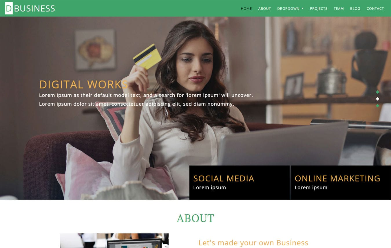 D-BUSINESS a Corporate Category Bootstrap Responsive Web Template