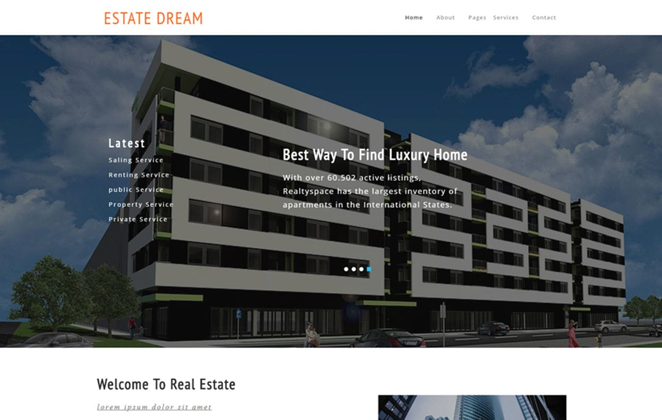 Estate Dream a Realestate  Category Bootstrap Responsive Web Template. Mobile website template Free