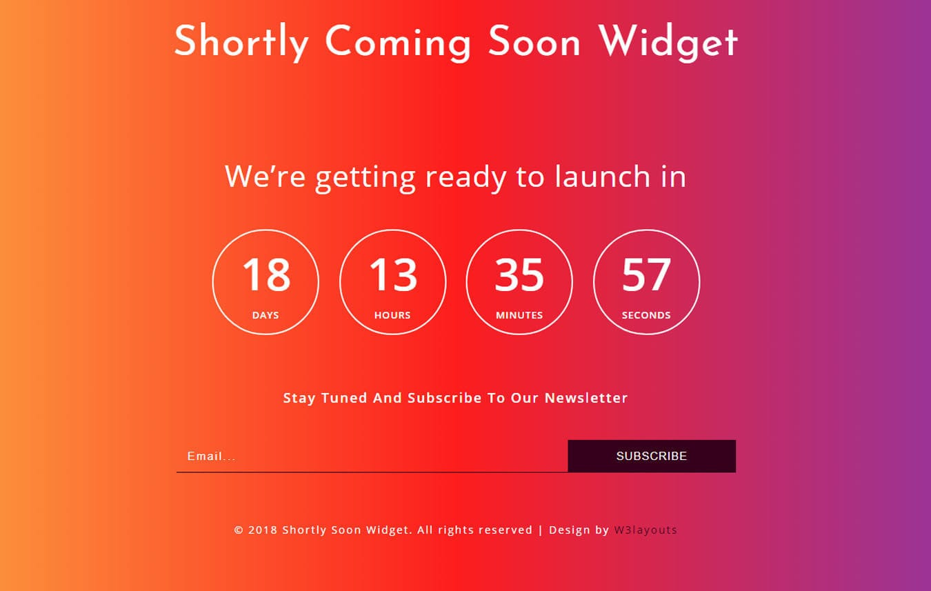 Shortly Coming Soon Widget Responsive Widget Template. Mobile website template Free
