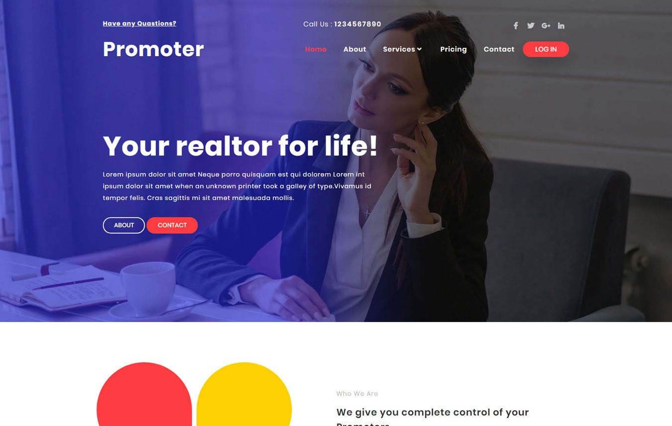 Promoter Real estate Category Bootstrap Responsive Web Template. Mobile website template Free