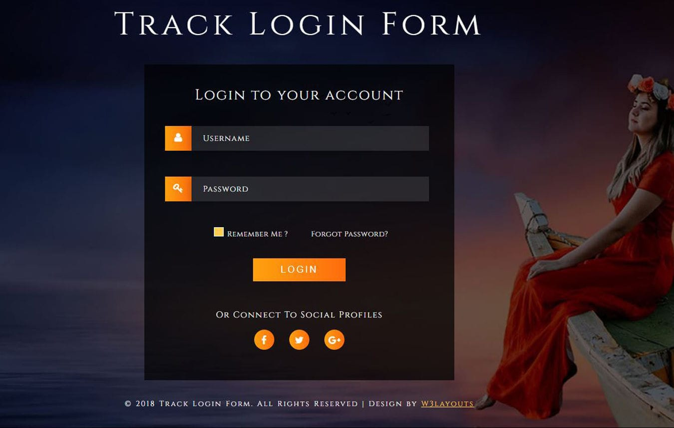 Track Login Form Flat Responsive Widget Template. Mobile website template Free