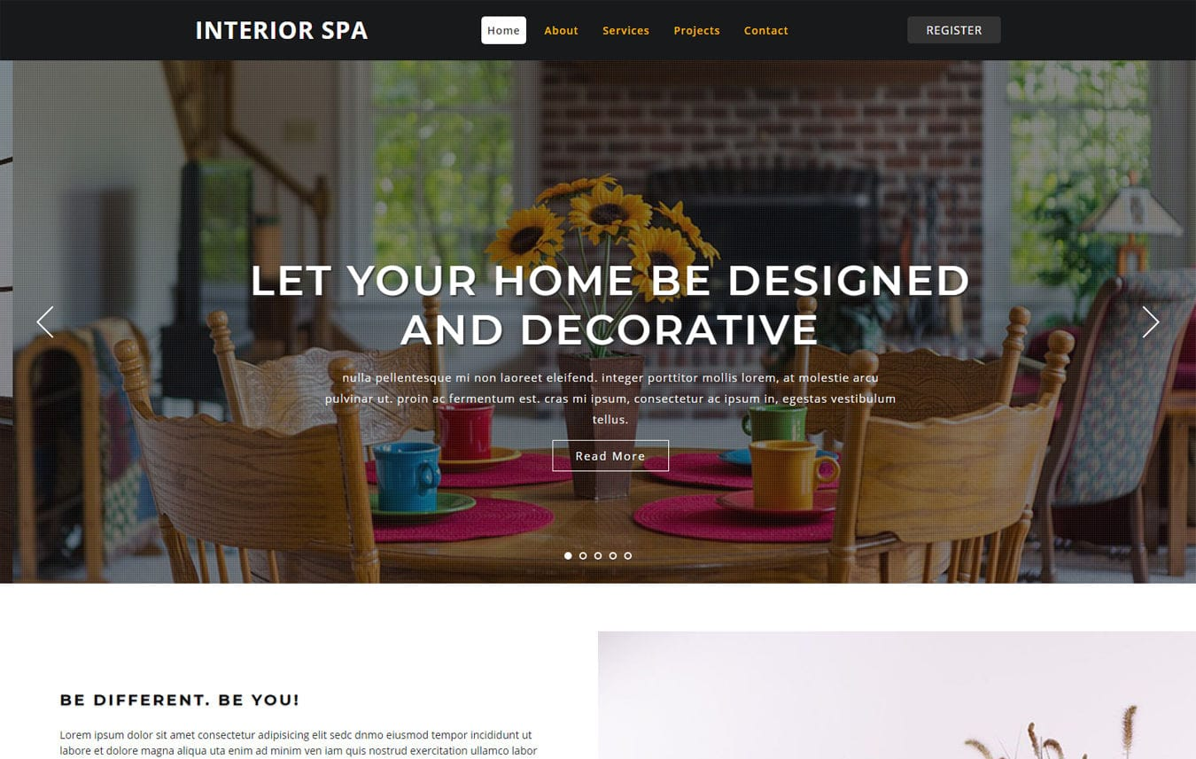 Interior Spa Interior Category Bootstrap Responsive Web Template. Mobile website template Free