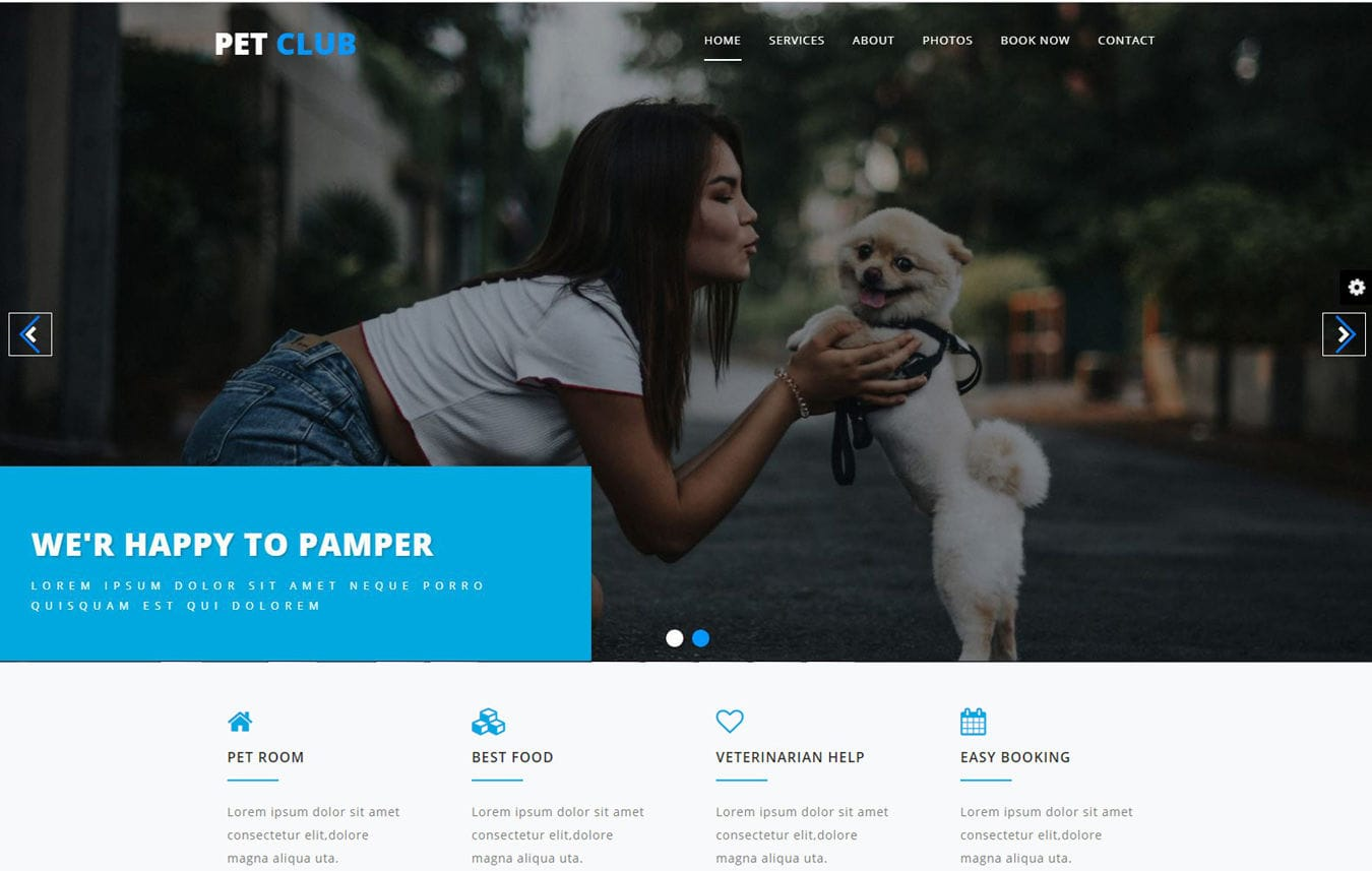 Pet Club Animals Category Bootstrap Responsive Web Template. Mobile website template Free