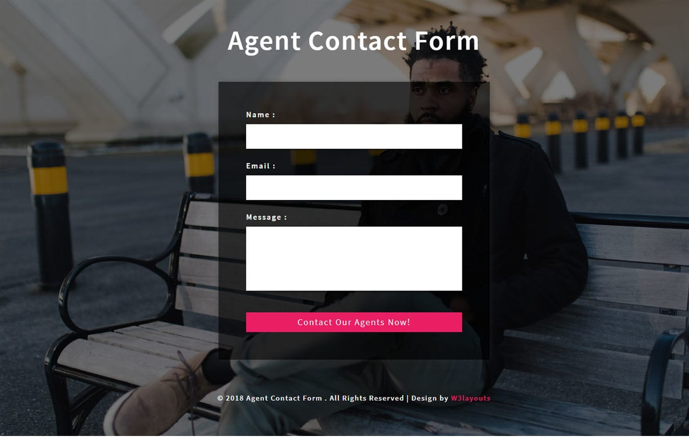 Agent Contact Form Flat Responsive Widget Template.