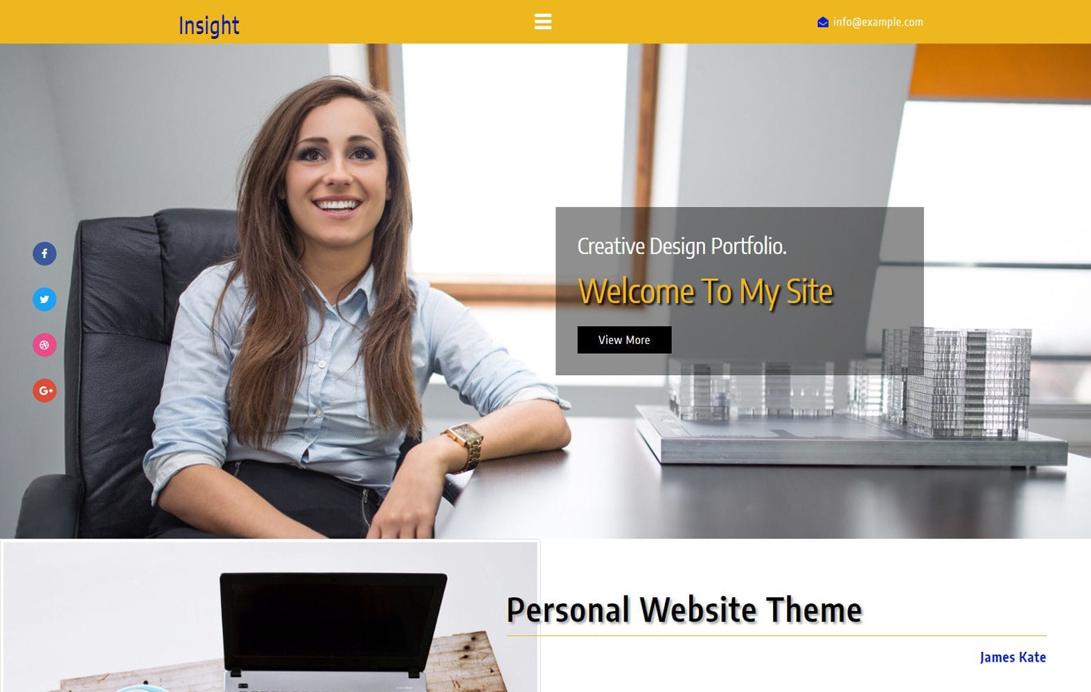 Insight a Personal Category Bootstrap Responsive Web Template Mobile website template Free