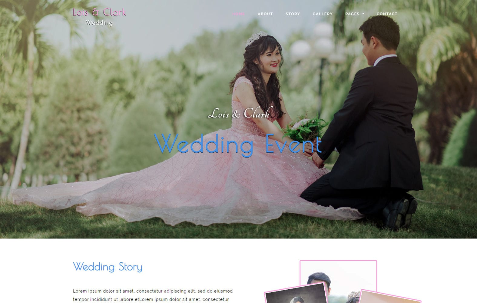 Lois & Clark a Wedding Category Bootstrap Template Mobile website template Free