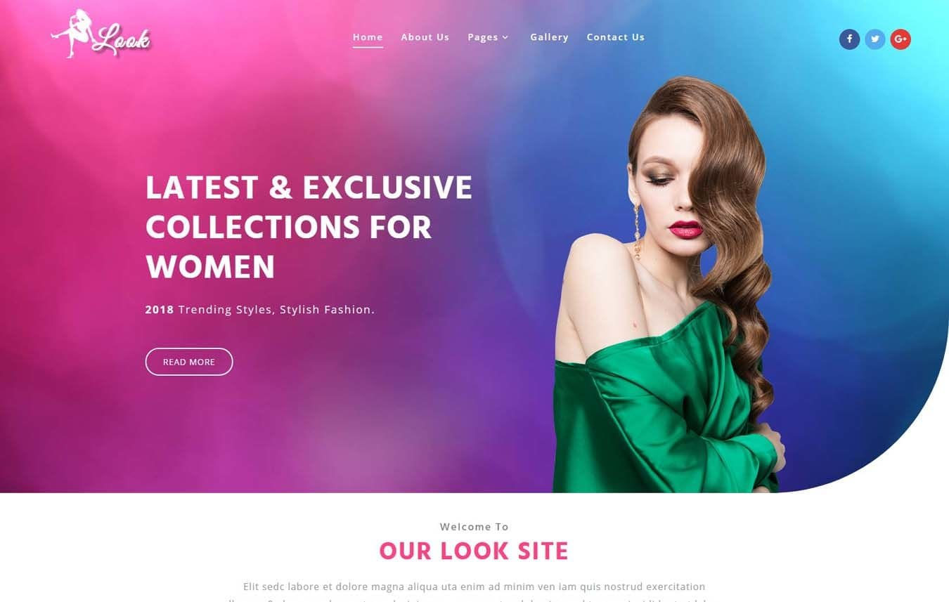 Look Fashion Category Bootstrap Responsive Web Template. Mobile website template Free