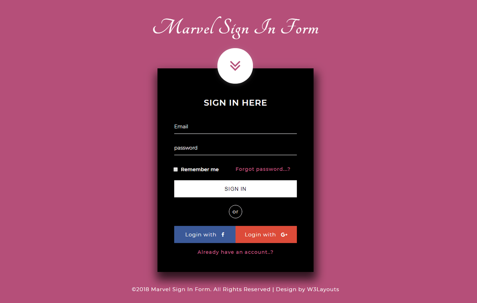 Marvel Sign in Form a Flat Responsive Widget Template Mobile website template Free