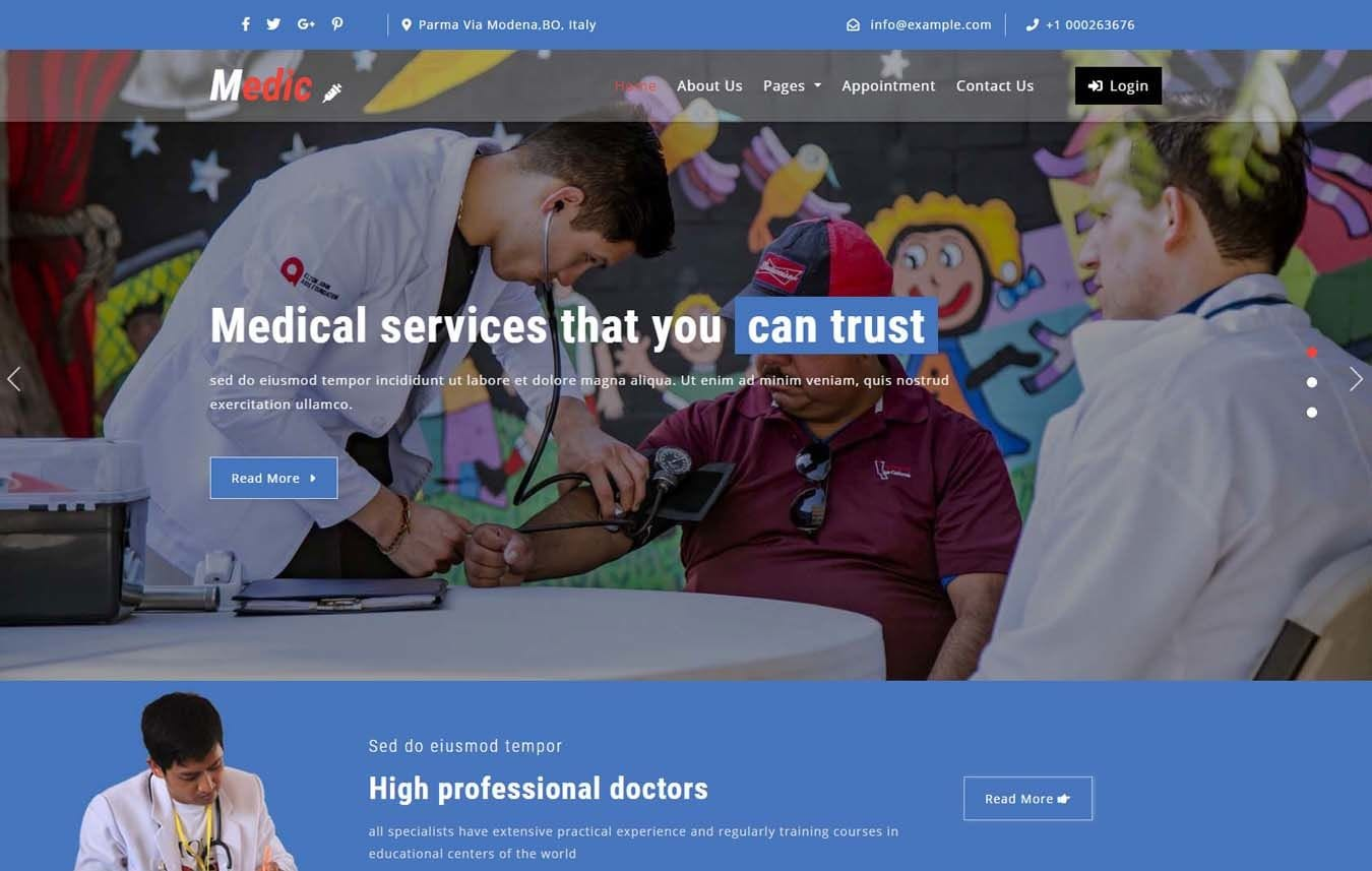 Medic Medical Category Bootstrap Responsive Web Template. Mobile website template Free