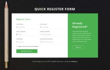 Quick Register Form Flat Responsive Widget Template.